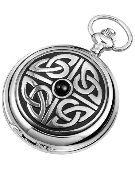 'Celtic Knotwork' Quartz Pocket Watch with Chain